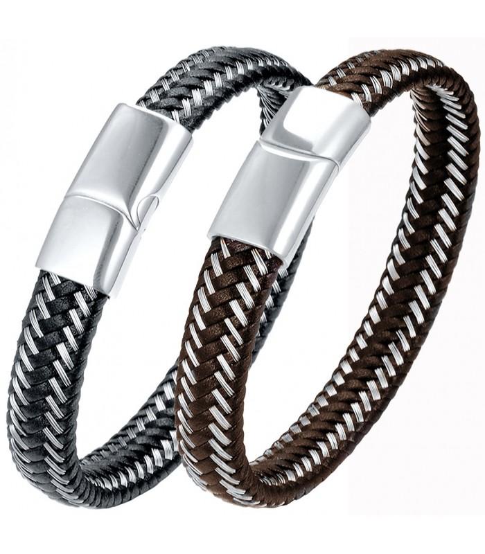 9f10853ea4ce pulsera hombre fabricada artesanal en cuero e hilos de acero trenzados