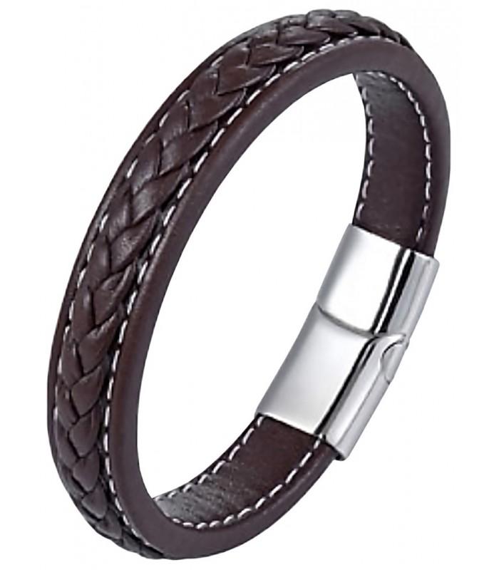 9356d5998f87 pulsera hombre fabricada artesanal en cuero y con adorno de trenzado