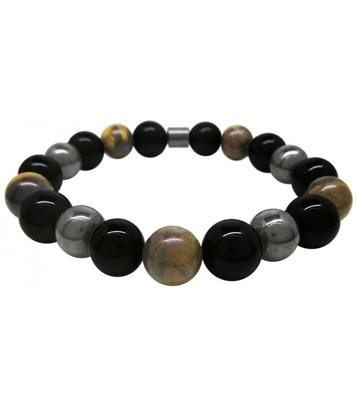 437d56dc0ce0 pulsera hombre fabricada con piedras obsidiana ojo de tigre y hematita