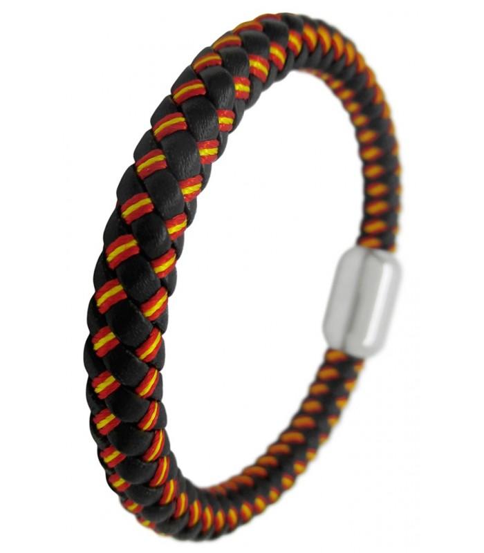 02d100e0ff97 Pulsera cordon cuero negro trenzado con los colores de bandera de España