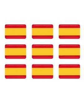 PEGATINA RECTANGULAR BANDERA ESPAÑA RESINA 9 UNIDADES