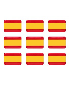 PEGATINA RECTANGULAR BANDERA ESPAÑA RESINA