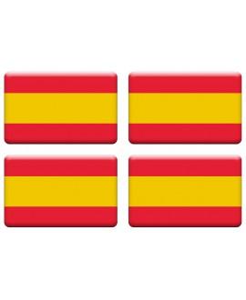 PEGATINA RECTANGULAR BANDERA DE ESPAÑA RESINA 4 UNIDADES