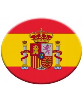 PEGATINA OVALADA BANDERA ESPAÑA Y ESCUDO CONSTITUCIONAL RESINA