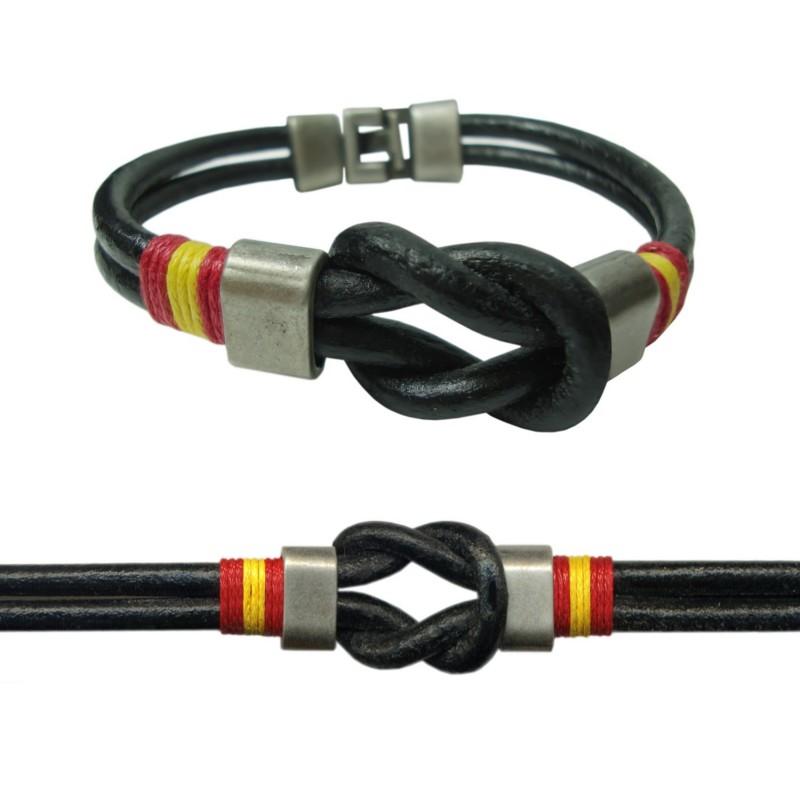 Pulsera para hombre fabricada artesanal en cuero con nudo - Nudos marineros para pulseras ...