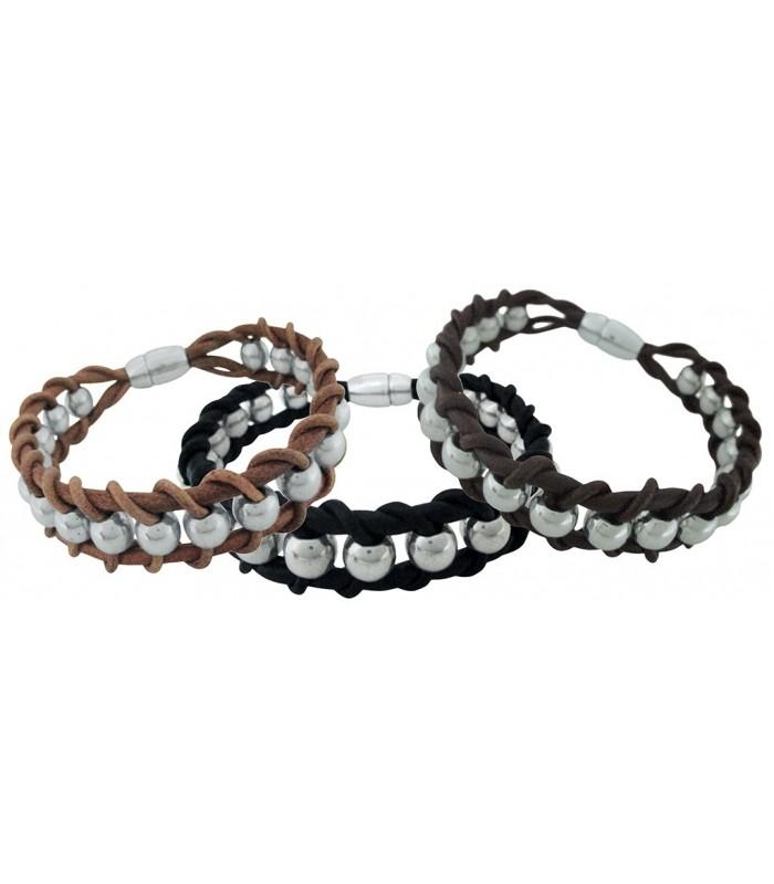 09c9ea7a2632 actual pulsera para hombre fabricada con cordon cuero y bolas acero