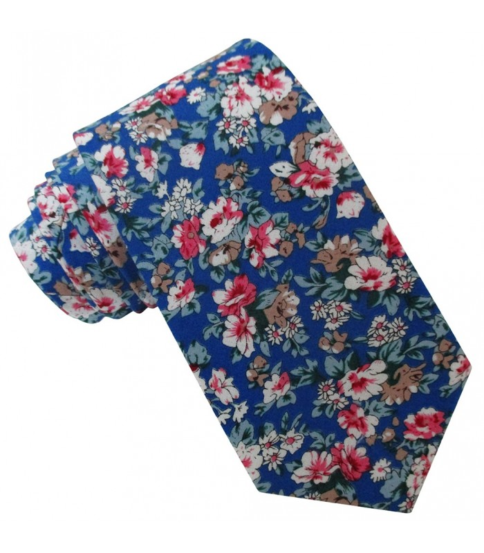 corbata algodon pala normal color azul royal estampado floral en colores 24f9fae5e2a