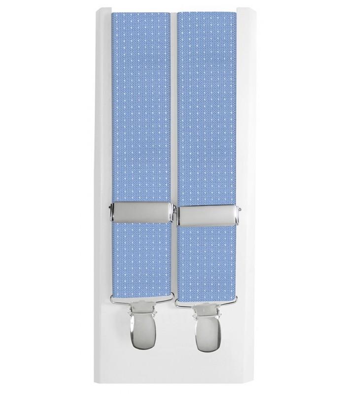9fe0f3282 tirantes elasticos hombre cuatro pinzas fondo celeste topitos en blanco