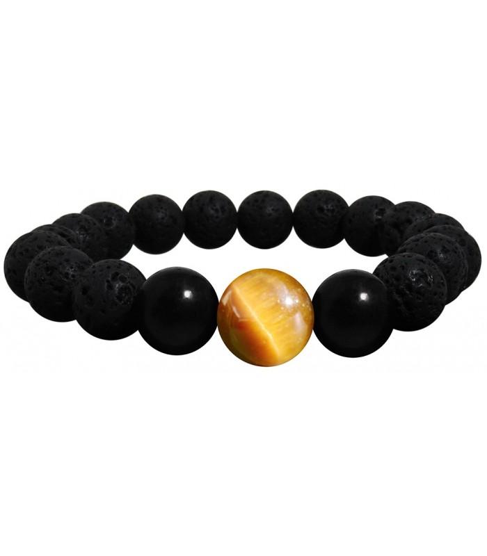 9d8f331010e8 pulsera fabricada con bolas de lava volcanica onix y ojo de tigre