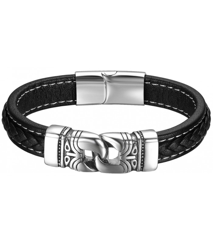 8f01b42e13f9 pulsera hombre fabricada en cuero con trenza y eslabones en acero inox