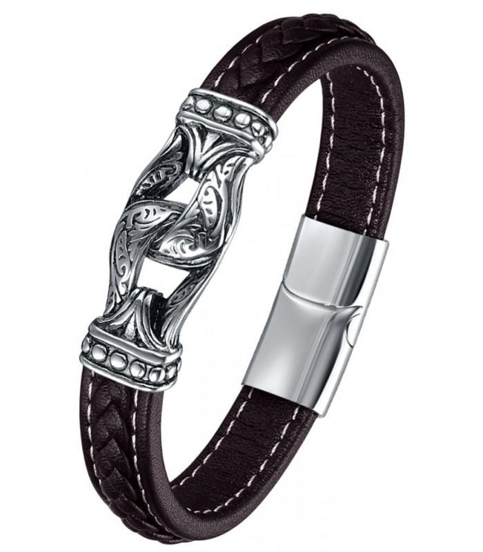 fd605dfc41af pulsera fabricada en cuero con eslabon central y cierre en acero inox