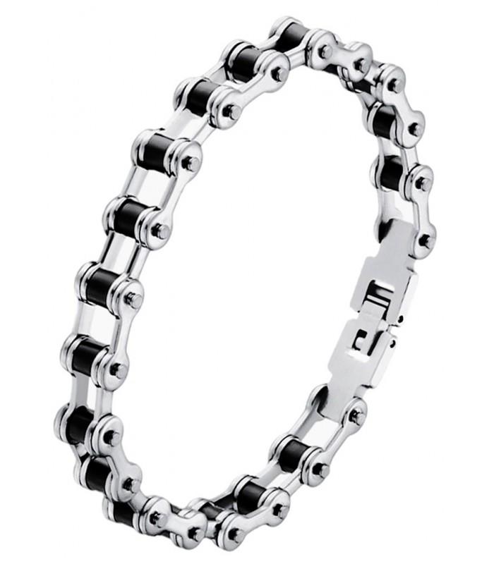 33746ab4fa38 moderna pulsera de hombre fabricada en acero forma cadena de bicicleta