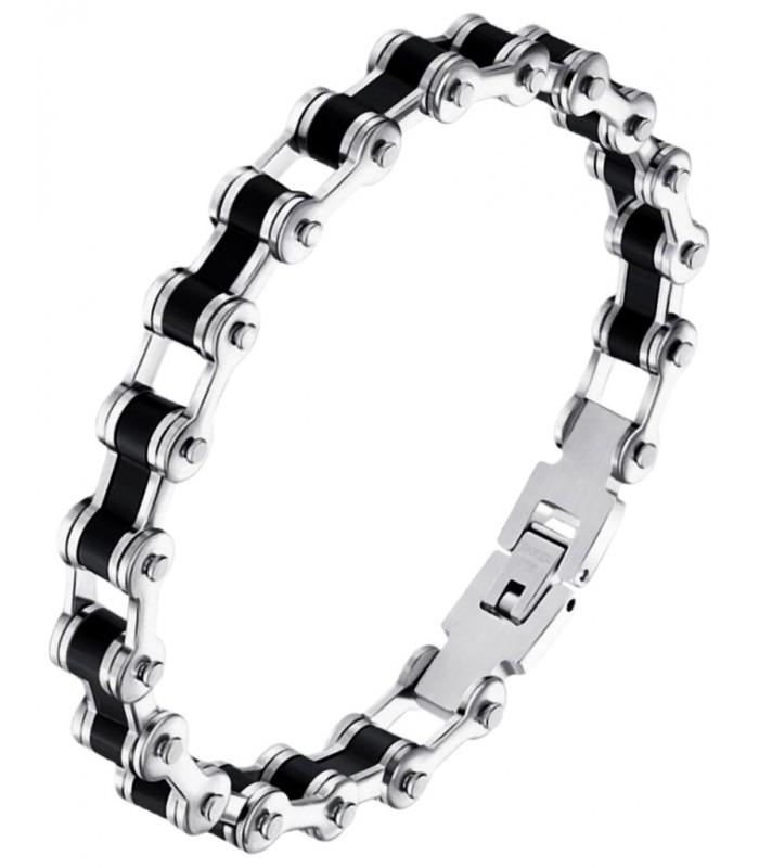 43e0bed5269d moderna pulsera masculina fabricada en acero forma cadena de bicicleta